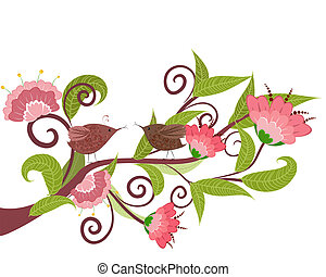 Blumenzweig mit Vögeln