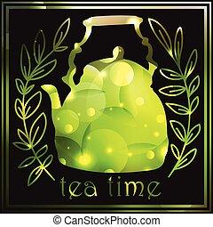 Blurred Tea Vintage Hintergrund. Hand gezeichnete Zeichnung. Menu Design