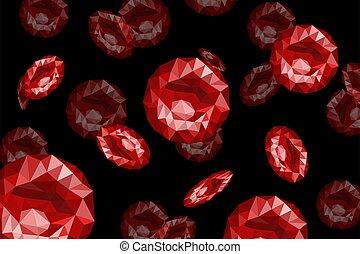 blut, rotes , polygonal, hintergrund., schwarz, graphics., zellen, illustration., vektor