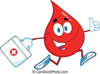 Bluttropfen mit einem Medizinbeutel