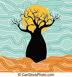 Boab (Baobab) Baumvektormalerei. Aboriginal dot art vektor Hintergrund.