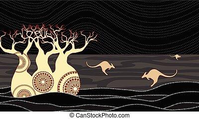Boab (Baobab) Baumvektormalerei. Aborigine-Kunst-Vektor Hintergrund.