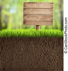 Boden mit Holzschild geschnitten.