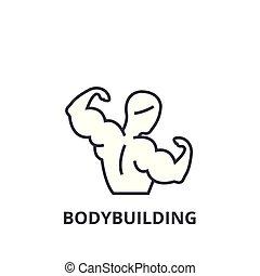 Bodybuilding dünne Linie Icon, Zeichen, Symbol, Illustration, lineares Konzept, Vektor.
