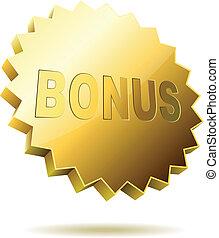 Bonus-Etikett isoliert auf weißem Hintergrund.