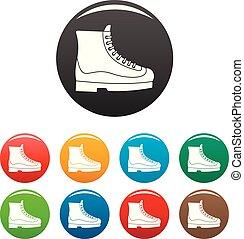 Boots-Icons setzen Farbe.