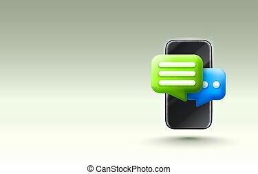 bote, icon., unterhaltung, vektor, talk, web, oder, concept., unterstuetzung, dialog, telefon., online