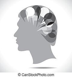 Botschaftsblase im Kopf