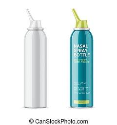 bottle., nasal, weißes, sprühen, glänzend