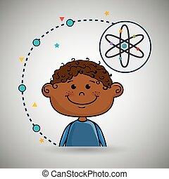 Boy Cartoon Atom Ikone.