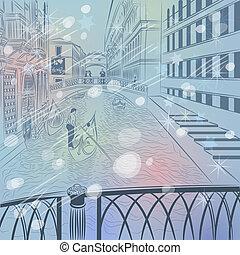 brücke, skizze, winter, farbe, venedig, seufzer, weihnachten, landschaftsbild