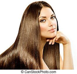 brünett, m�dchen, hair., freigestellt, schöne , langer, gerade, weißes