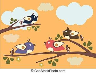 branches., illustration., sitzen, baum, vektor, vögel