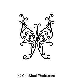 brandmarken, identität, design, freigestellt, papillon, weißes, schablone, hintergrund., zeichen, logo, korporativ