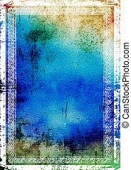 brauner, blaues, frame:, weinlese, abstrakt, elegant, muster, hintergrund, textured, grün, umrandungen