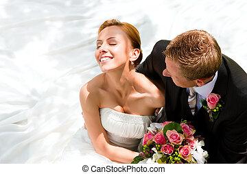 braut, paar, stallknecht, -, wedding