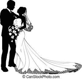 Braut und Bräutigam Silhouette