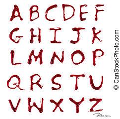 Briefe A-Z tropfen mit Blut. Vector Illustration.