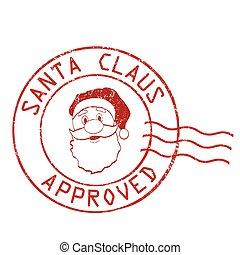 briefmarke, claus, genehmigt, santa