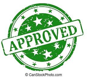 briefmarke, grün, -, runder , genehmigt