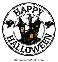 briefmarke, halloween, glücklich