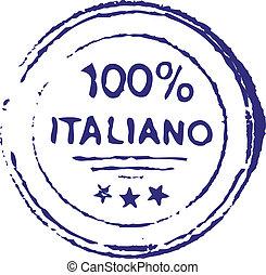 briefmarke, italienesche, hundert, prozent, tinte