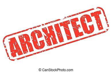 briefmarke, text, architekt, rotes