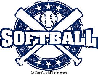 briefmarke, weinlese, stil, sport, softball
