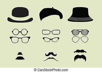 Brillen, Schnurrbart und Hüte.