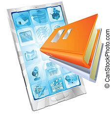 Buch-App-Telefon-Konzept