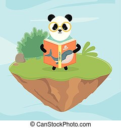 buch, panda, brille, märchen, lesende , fantasie