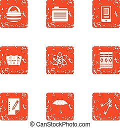 Buch-Spine-Icons gesetzt, grunge Stil