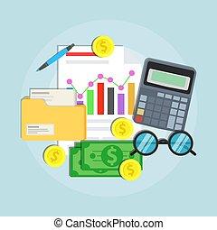Buchführungskonzept Vektor-Flachbilddesign. Business Financial Management Audit Planung