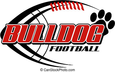 Bulldog Football mit Pfotenabdruck.