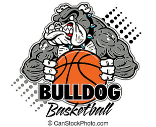 Bulldog mit Basketball
