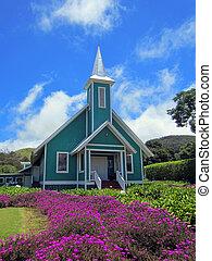 Bunte hawaiianische Kirche.