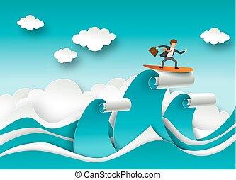 Business Erfolg Konzept Vektorposter in Papierkunst origami Stil. Geschäftsmann surft auf einer Welle. Seewellen und Wolkenpapier schneiden