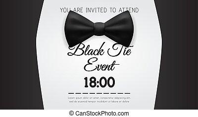 Business-Karte elegante schwarze Krawatte Veranstaltung Einladung Vorlage