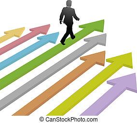 Business Leader geht mit Pfeil in die Zukunft.