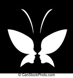 butterfly-, gesicht, logo, dame