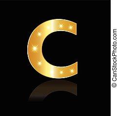 C Buchstabe mit leuchtenden Lichtzeichen.