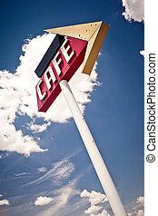 Cafe Schild entlang der historischen Route 66 in Texas.