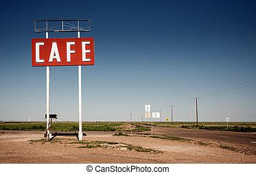 Cafe Schild entlang der historischen Route 66