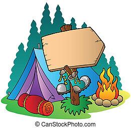 Campingzeichen in der Nähe von Zelt