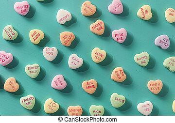 Candy Konversationsherzen für Valentinstag.