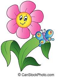 Cartoon-Blume mit Schmetterling