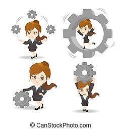 Cartoon Business-Frau hält die Ausrüstung.