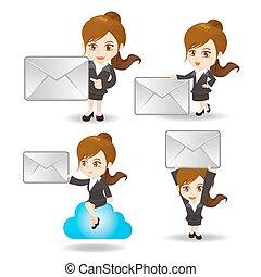Cartoon Business Frau mit E-Mail.