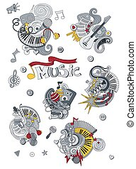 Cartoon handgezeichnet Doodles Music Illustration. Farbig detailliert, mit vielen Objekten vektor Hintergrund