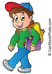 Cartoon-Junge geht zur Schule